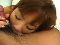 Cute Miss Kurita in school clothes gives stunning blowjob
